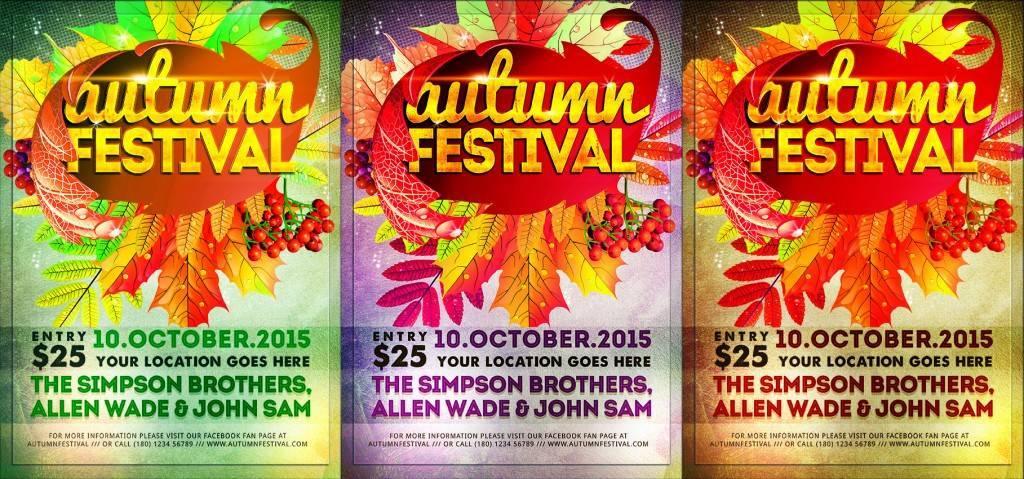 Осенние афиши и флера разных цветов, с литьсями псд исходник