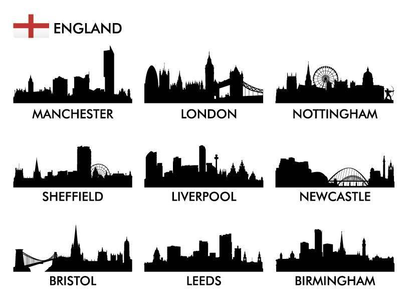 Силуэты городов Англии в векторе