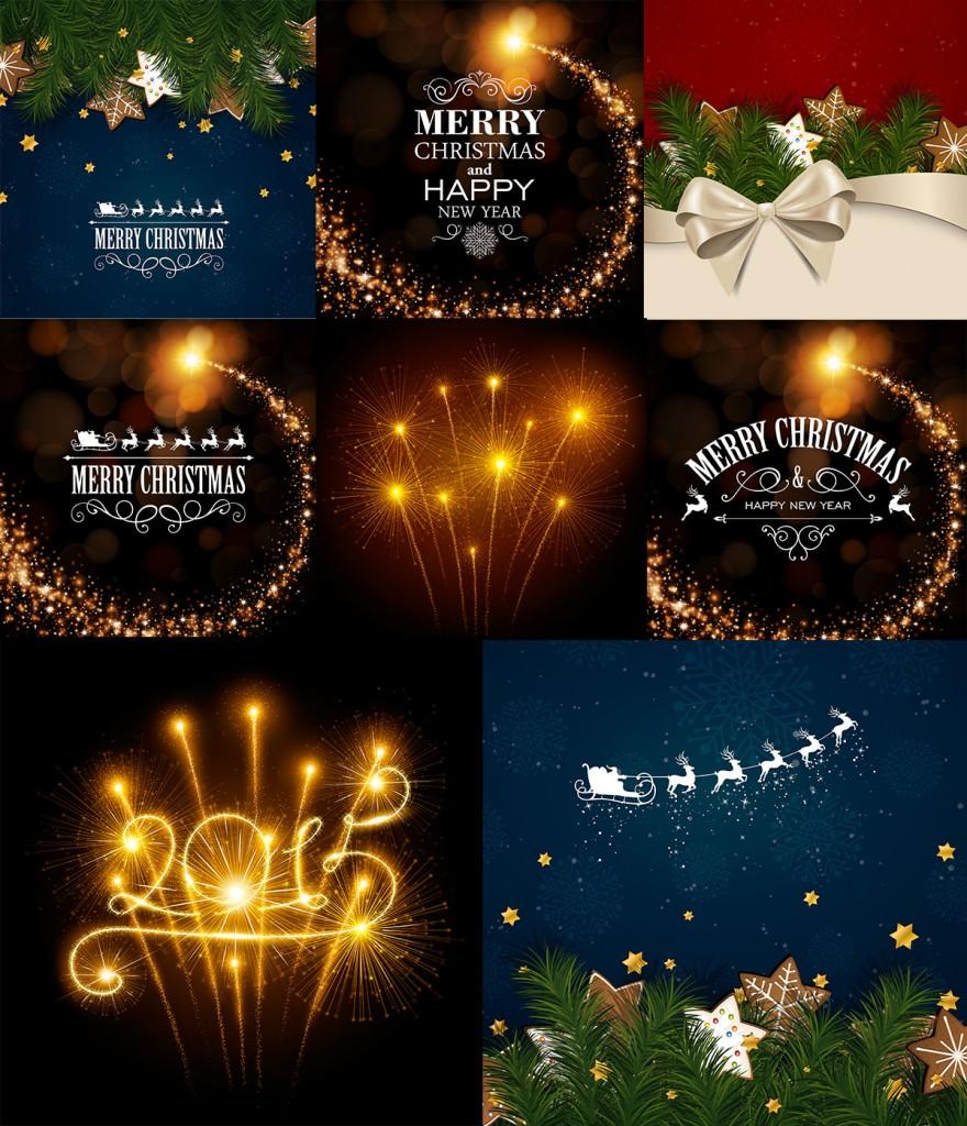 Новогодние фоны из праздничных огней - векторный клипарт илюстрации