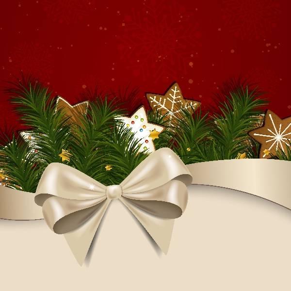 Новогодний векторный фон из елочных игрушек с бантикам на красном и белом фоне