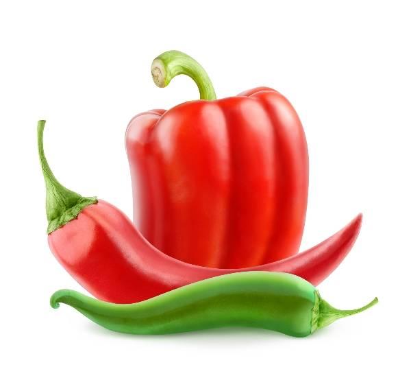 Фото - перец красный и зеленый на белом фоне
