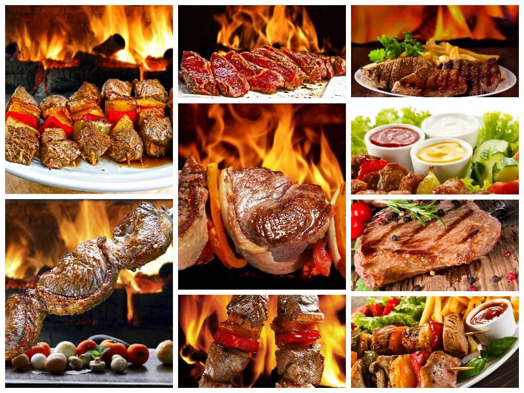 набор растрового клипарта - Стейки, шашлыки, жареное сочное мясо - гриль