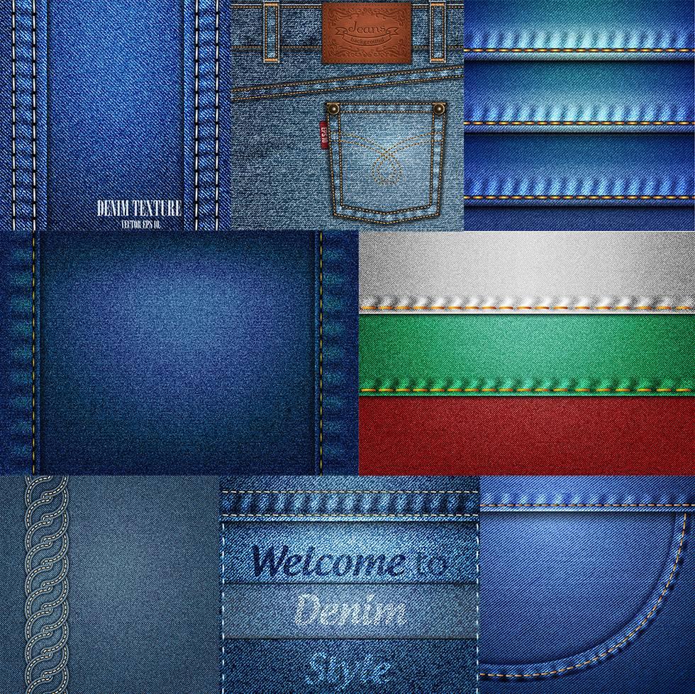 Набор текстур - джинсовая ткань, Деним