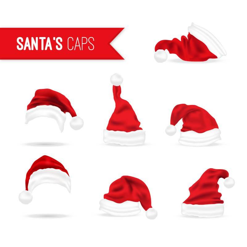 Набор рождественских красных шапок на белом фоне, с новым годом