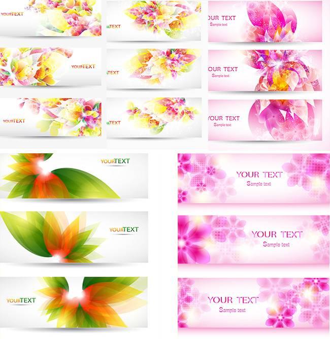 Абстрактные баннера с цветочками на белом фоне