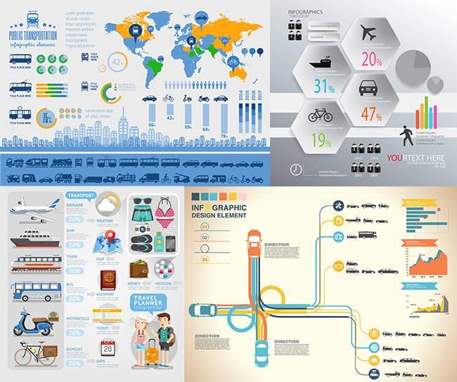 Векторный набор иллюстраций - транспортной тематики