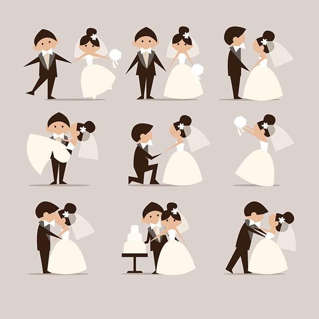 Свадебный набор - Жених и Невеста в векторе в разных позах