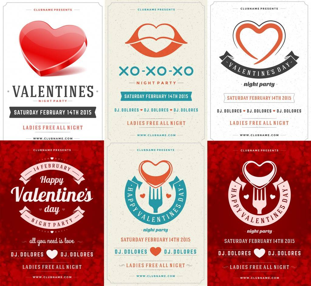 PSD Шаблон клубных афиш или флаеров ко дню Святого Валентина