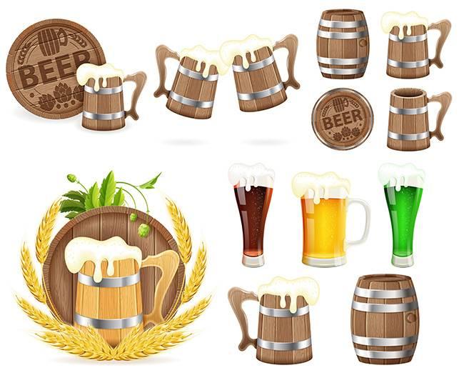 Октоберфест - Пивные бочки, Пивные бокалы, и другие пивные принадлежности - Векторные клипарты