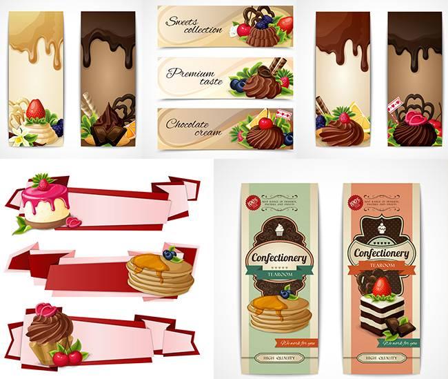 Векторные баннера - с шоколадными десертами, блинчиками и тортами
