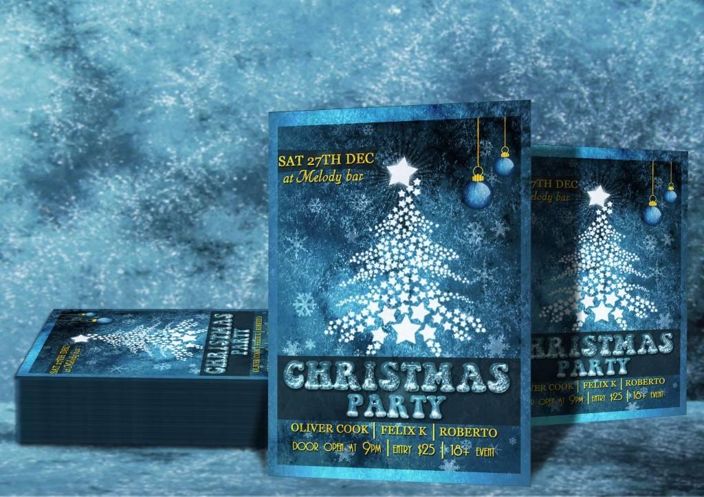 Новогодняя афиша или флаер с белой елкой на синем фоне
