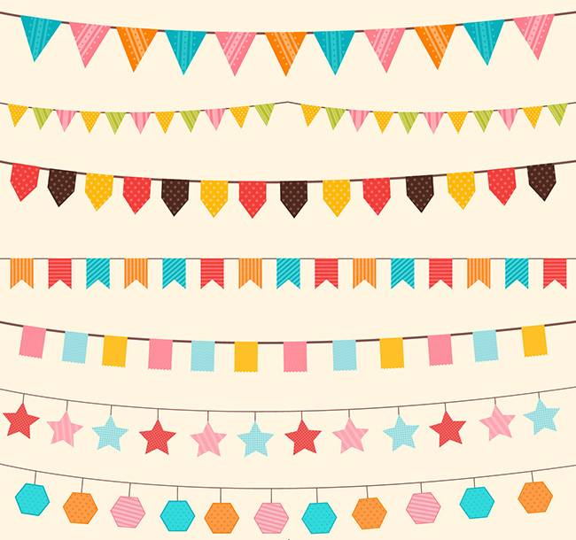 Бумажные флажки - украшение для открытки с днем рожденья