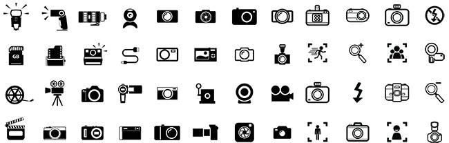 Черные иконки - Фотоаппараты, Вспышки и другая фото-видео техника в векторных чб иконках