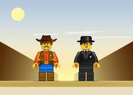 Сцена Векторных персонажей из лего - Ковбои и Мафиози в пустыне
