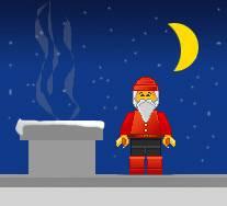 Сцена Векторных персонажей из лего - Дед мороз на крыше у камина