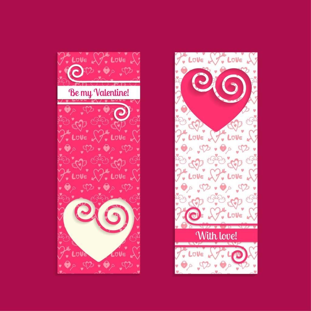 Векторные шаблоны баннеров с сердечками - День Святого Валентина