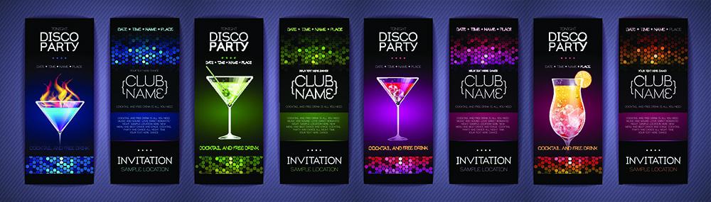 Набор баннеров с напитками для ночного клуба