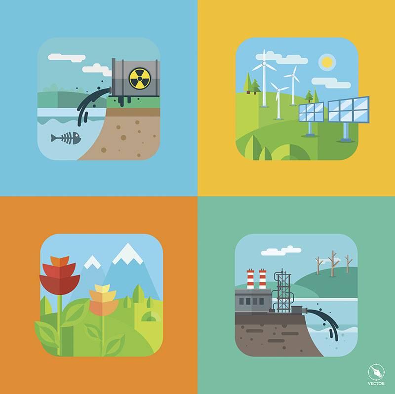 Набор векторных иллюстраций - Заводы, Отходы, Экология (Flat design)