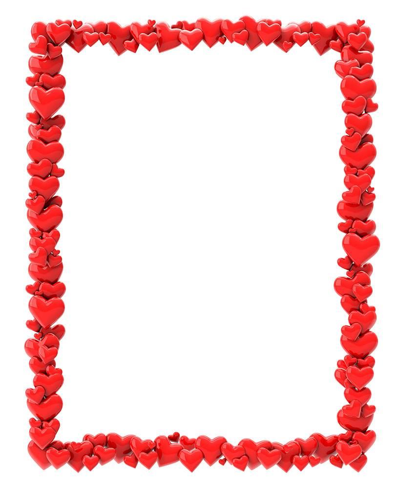 Рамки для фотошопа - из сердечек на 14 февраля