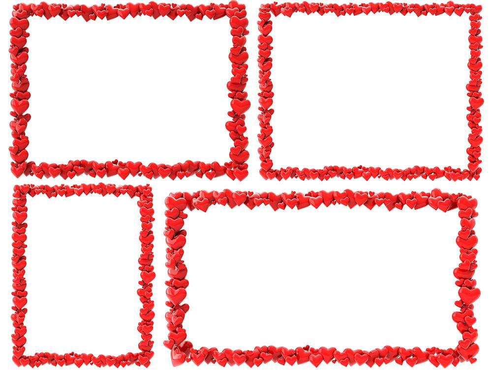 набор рамок из сердечек - 14 февраля на прозрачном фоне