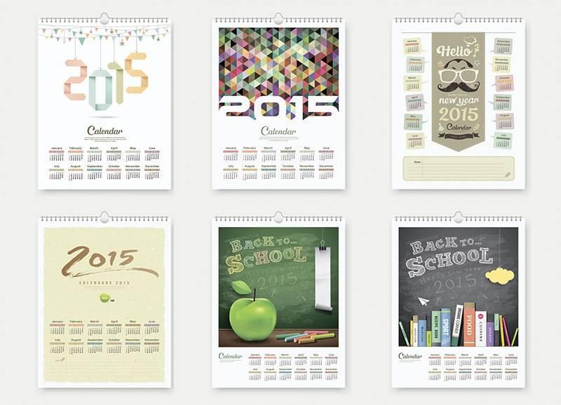 Набор векторных календарей в креативном стиле