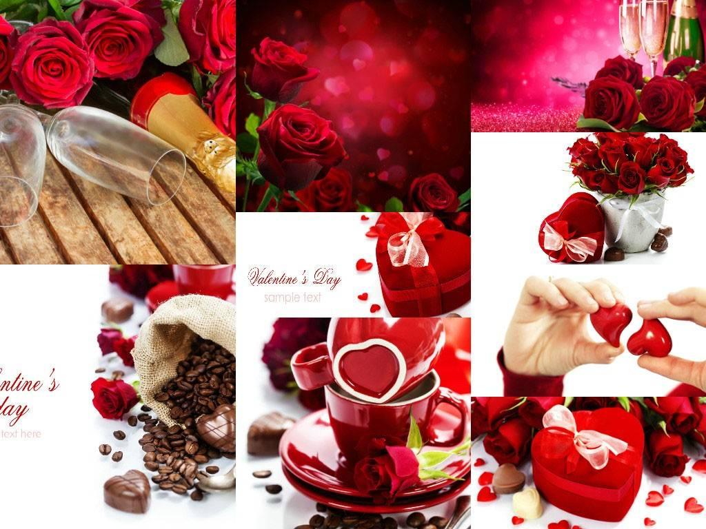 Растровый клипарт с цветами, шоколадками и подарками - 14 День всех Влюбленных