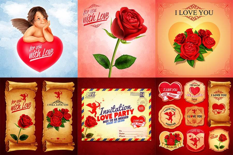 Набор Винтажных открыток на День Святого Валентина - Розы, сердечки, ангелы