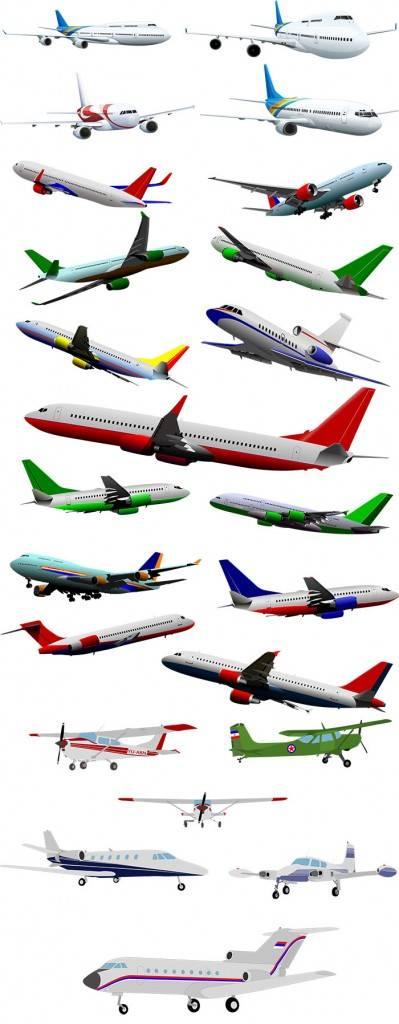 Набор самолетов на белом и прозрачном фоне
