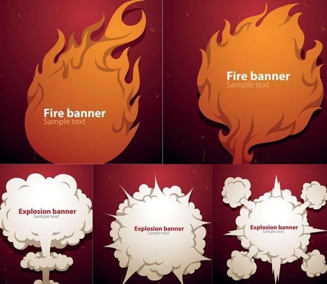 Векторный баннер - Огонь и Взрыв в стиле мультика