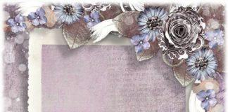 Романтическая рамка для фотошопа - Фиолетово серебристая