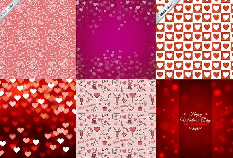 Набор векторных фонов - из сердечек на день святого Валентина(Любовь, Валентинки)