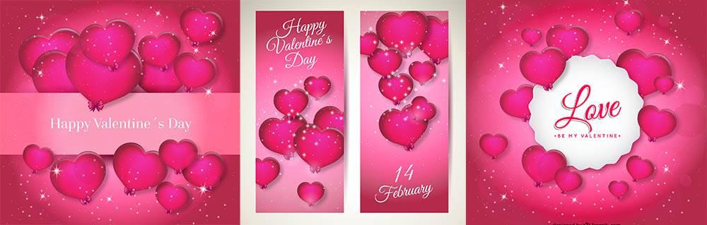 Набор открыток - на день святого Валентина в векторе