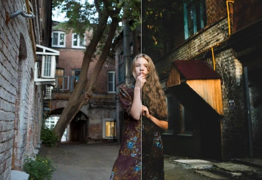 Девушка во дворе - пресет для лайтрум