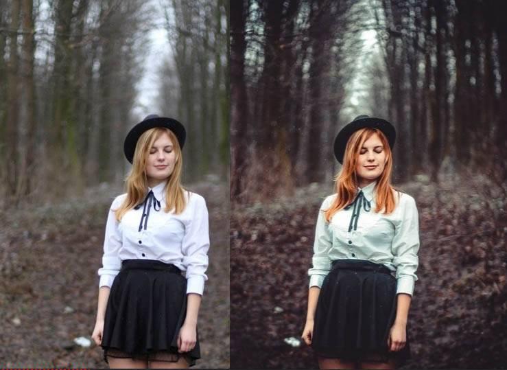 Девушка в лесу - пресет для лайтрум до-после