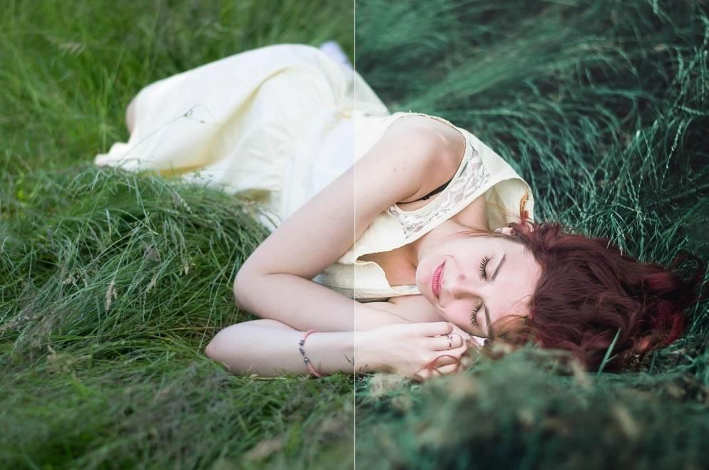 Девушка в траве - пресет для lightroom