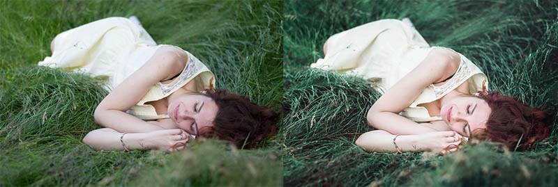 Девушка в траве - пресет для lightroom до-после
