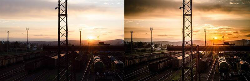 Пресет для лайтрум - закат на вокзале до-после