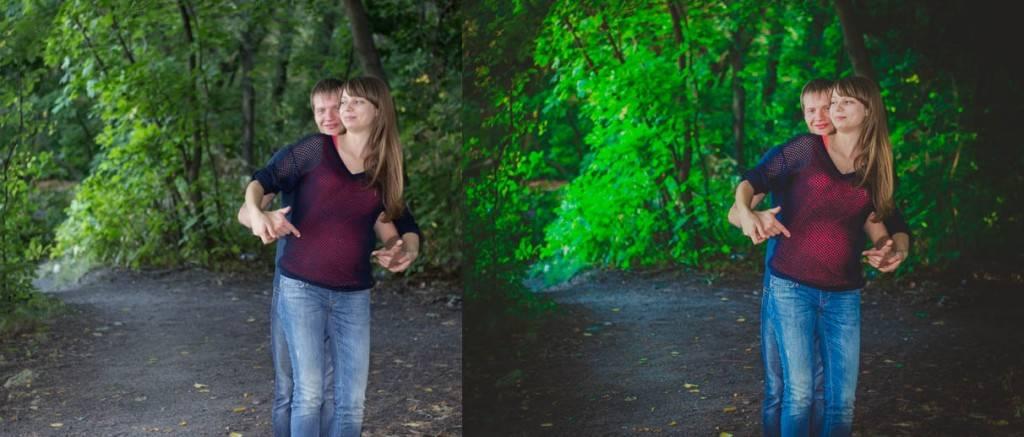 Обработка фотографии сделанной в лесу - Пресет для Lightroom