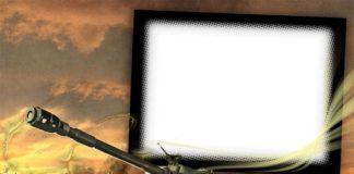 танк-на-фоне-развалин psd шаблон для фотошопа