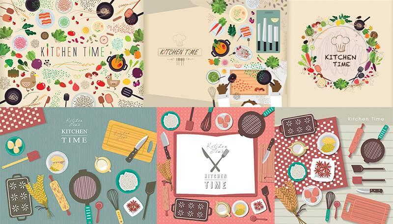Векторные иллюстрации - Кухня в плоском дизайне (Flat design)