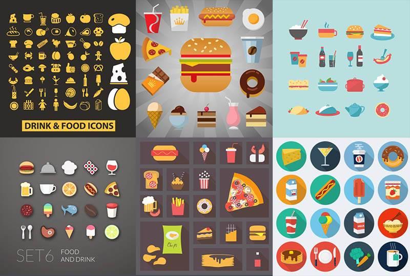 Еда и напитки - векторный набор иконок