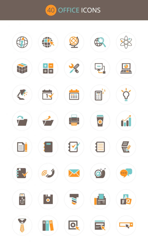 Офисные иконки в векторе