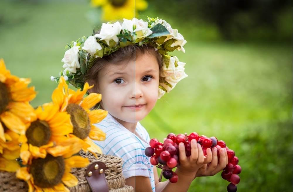Летний насыщенный пресет - портрет ребенка