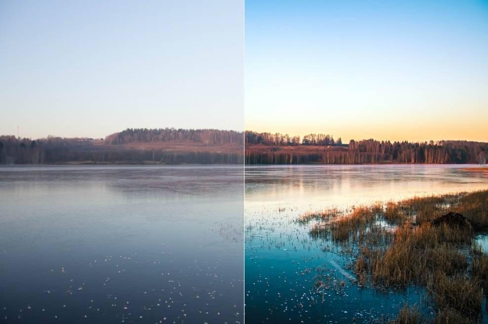 Пейзажный пресет закат на реке - пресет для Lightroom