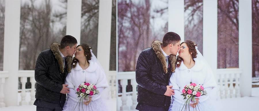 Свадебный зимниий пресет - до-после