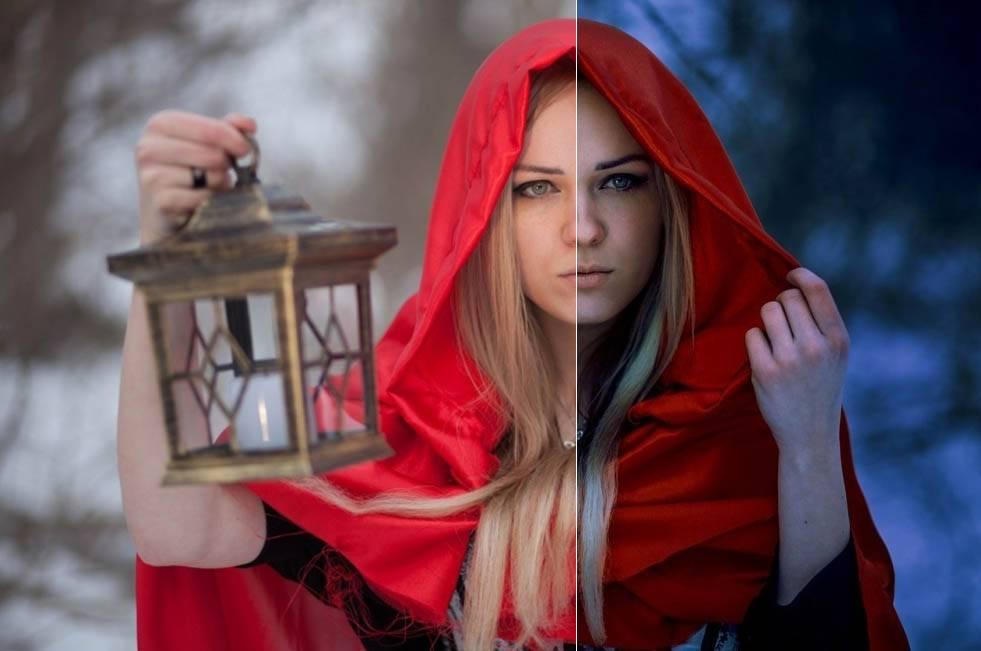 Девушка в лесу драматическая обработка - пресет для Lightroom