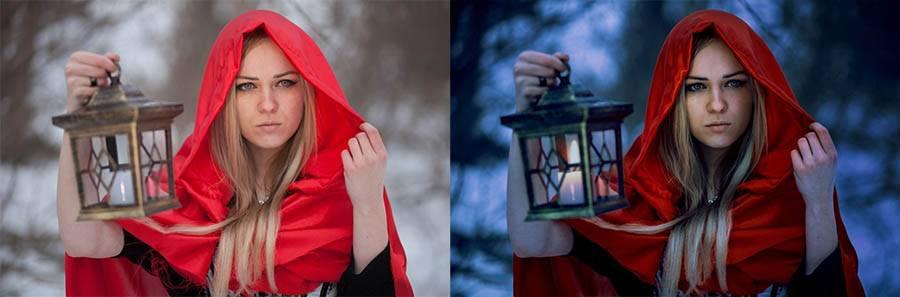 Девушка в лесу драматическая обработка - пресет для Lightroom до-после