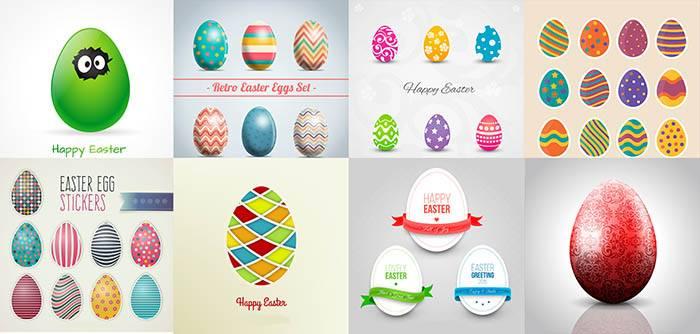 Пасхальные яйца - большой набор разукрашенных яиц на пасху 100+ шт. - Векторный клипарт