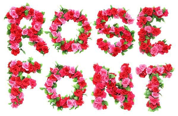 Цветочный шрифт из роз - растровый клипарт на прозрачном фоне
