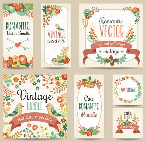 Набор весенних баннеров с цветами и птицами - векторный клипарт